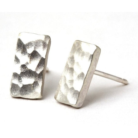 Contemporary Silver Rectangle Stud Earrings