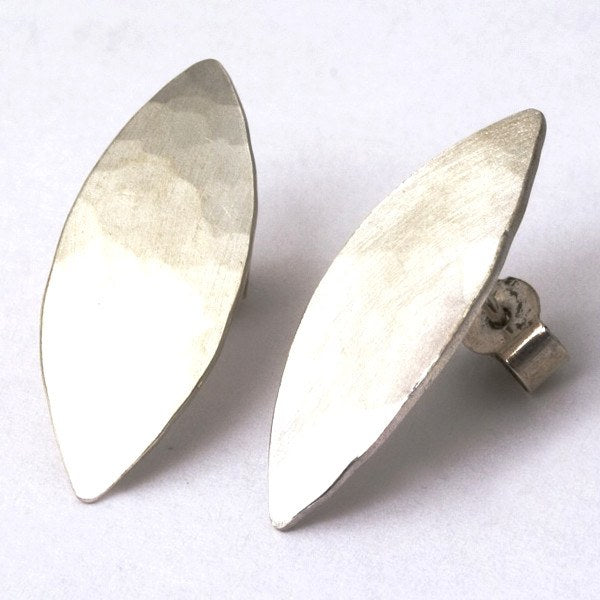 Olive Leaf Stud Earrings in Sterling Silver