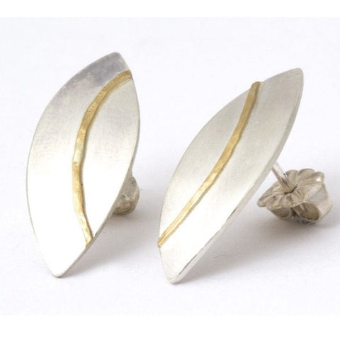 Olive Leaf Silver & Gold Stud Earrings