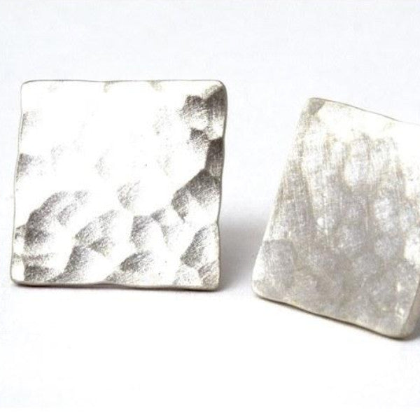 Abstract Hammered Silver Square Stud Earrings