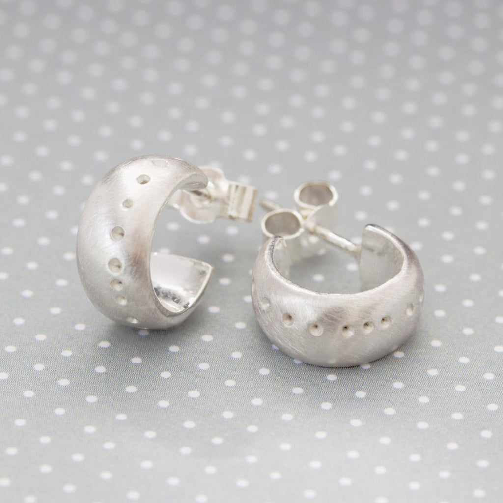 Sterling silver dotty hoops