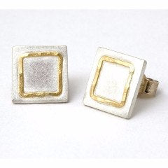 Sterling silver stud earrings with 18cty gold detail