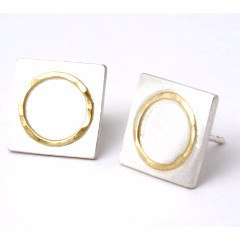 Sterling Silver Square Studs With 18ct Yellow Gold Circle Detail