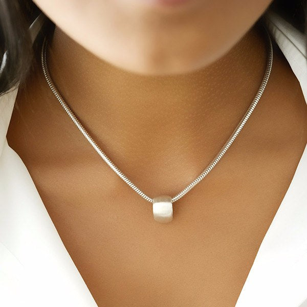 Floating Teardrop Silver Pendant Necklace