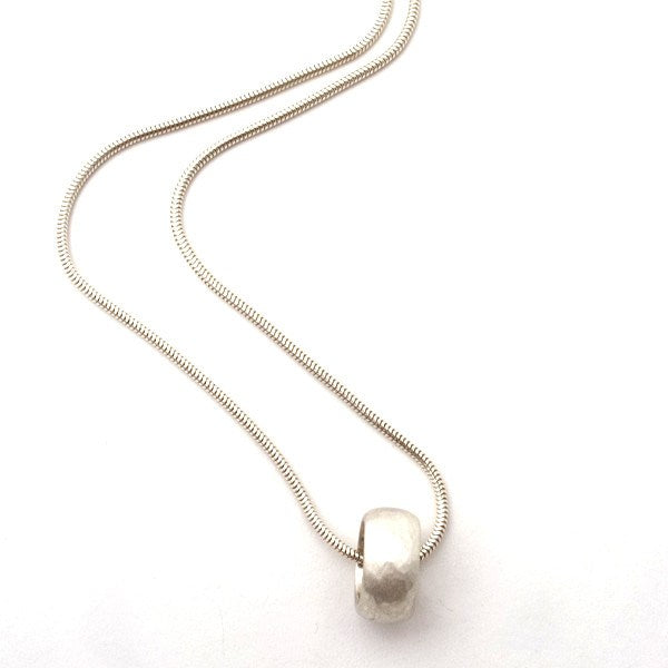 Orbit Hammered Silver Floating Pendant Necklace
