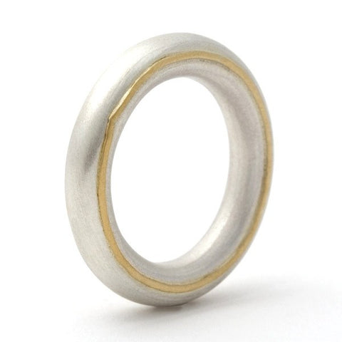 Gold detail Halo silver ring