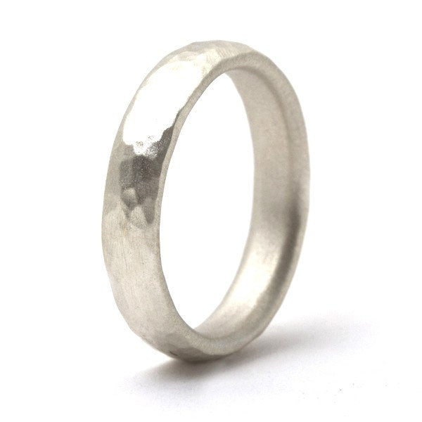 Thin silver hammered band