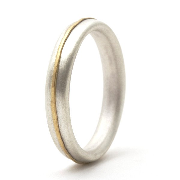 Sterling silver ring with 18ct yellow gold detail