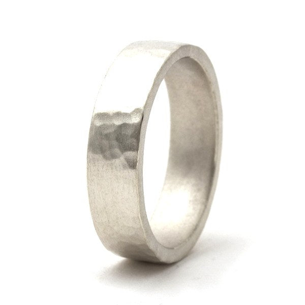 Trendsetter Brushed Silver Hammered Ring