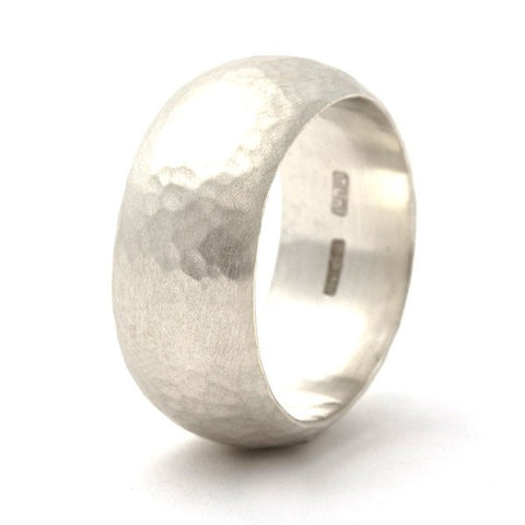 Simplicity Hammered Silver Statement Ring - Personalised