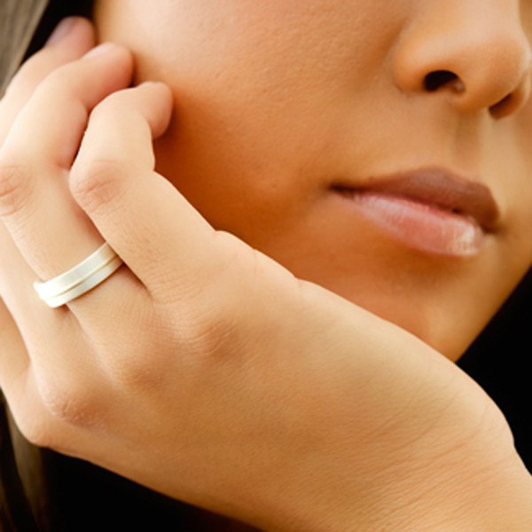 Silve & Gold Lines ring shown on model