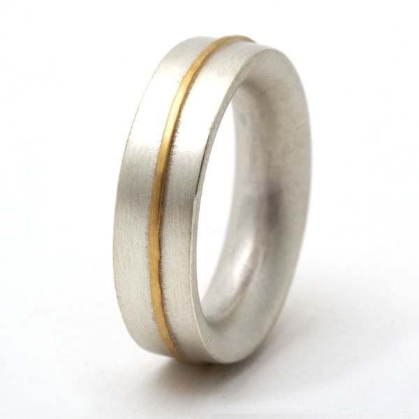 Sterling silver ring with 18ct gold detail