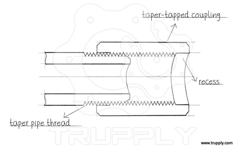 taper tapped and recessed coupling