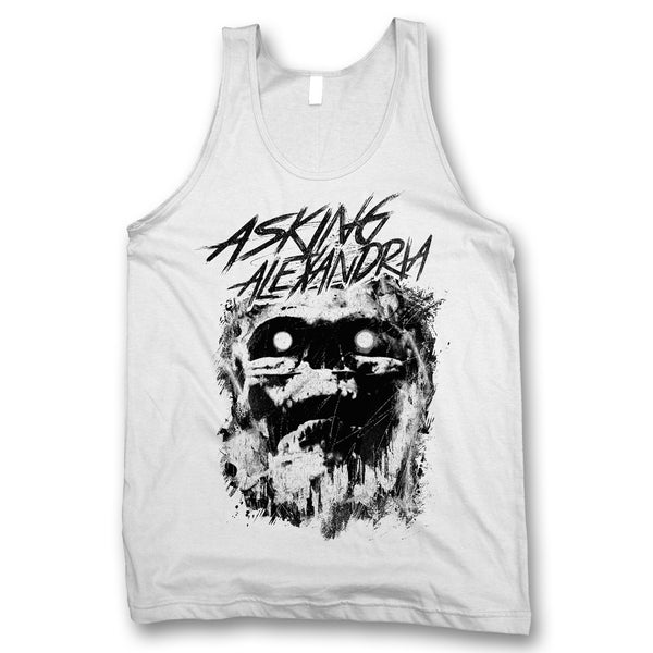 Scratch Skull Tank Top - White