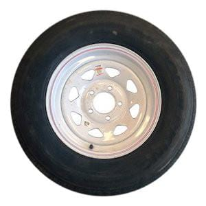205/75R15 on 450 White Spoke Tire with Steel Rim PJ Trailers (tires)