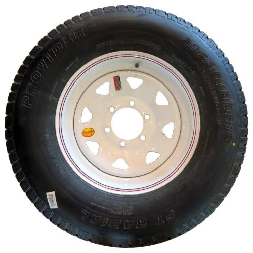 235/80R16 on 665 White Spoke Tire with Steel Rim PJ Trailers (tires)