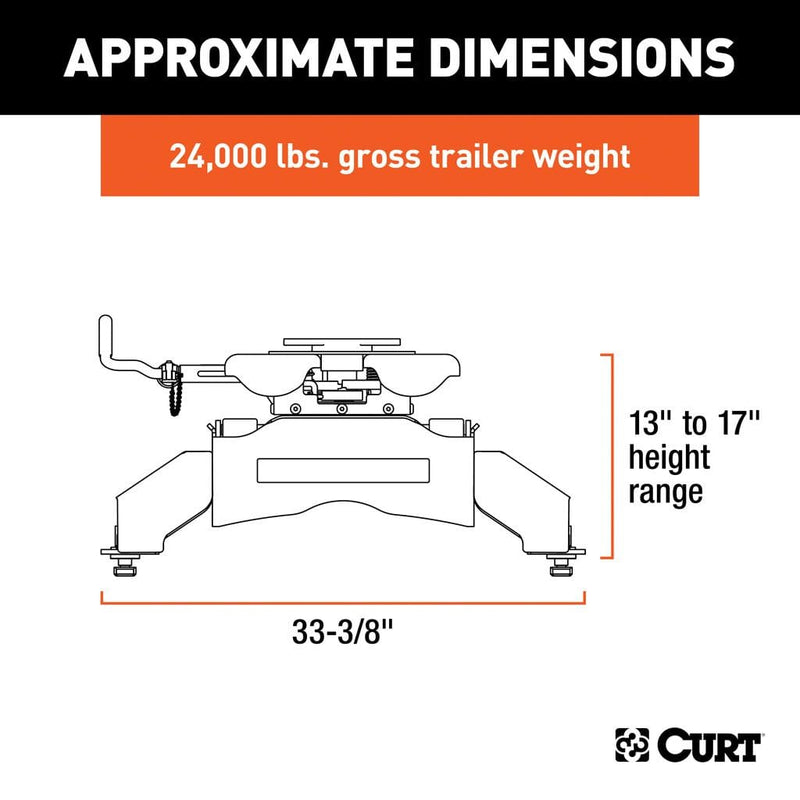 Q24 5th Wheel Hitch, Select Ford F-250, F-350, F-450, 8' Bed Puck System