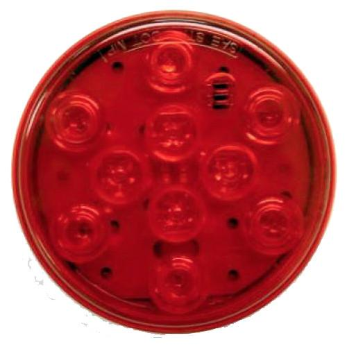 "Red Sealed LED Tail Light, 4"" Round Tail Lights PJ Trailers"