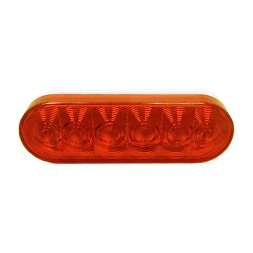 "Amber Sealed LED Tail Light, 6"" Oval Tail Lights PJ Trailers"