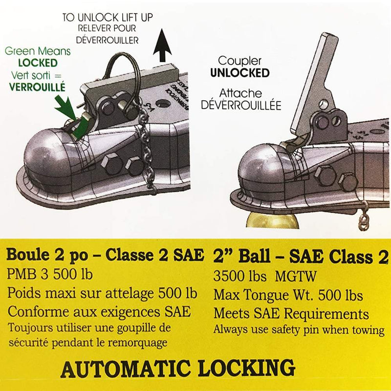 "Auto-locking, 2"" Ball, A-Frame Coupler Auto-Locking Coupler Hit N Hitch"
