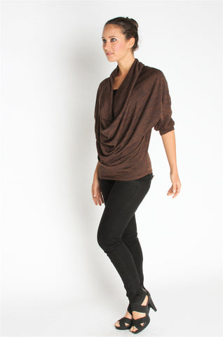 Cowl Neck Top - Brown