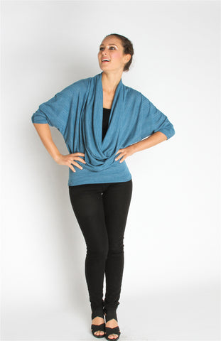 Cowl Neck Top - Blue