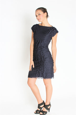 Ruffle Shift Dress - Blue