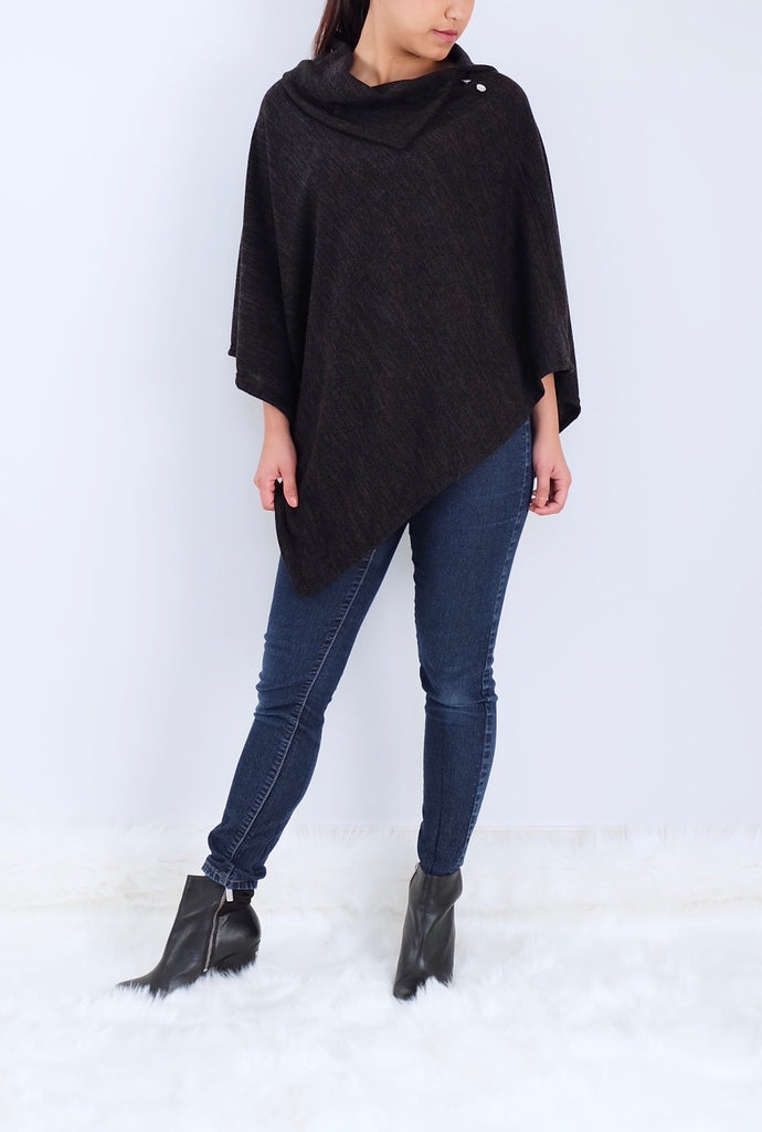 Black Split neck Poncho