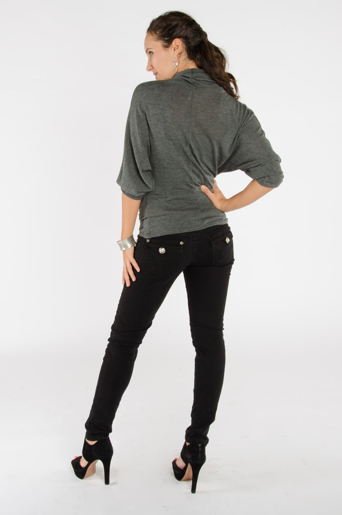 Cowl Neck Top - Charcoal Grey