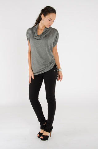 Cowl Neck Top - Grey
