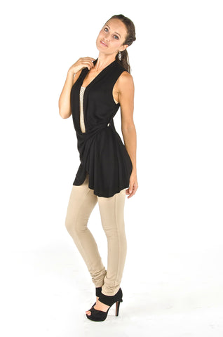 Draped Wrap Vest - Black