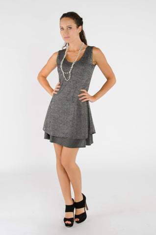 Double Layered Shift Dress - Grey