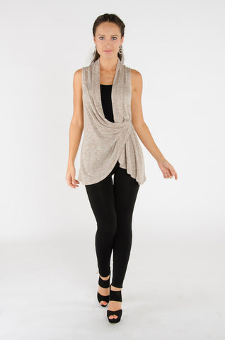 Draped Wrap Vest - Oatmeal