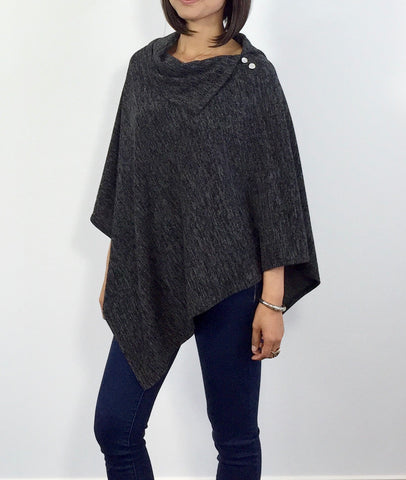 Charcoal gray Split neck Poncho