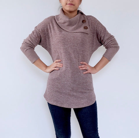 Split Neck sweater (Taupe)
