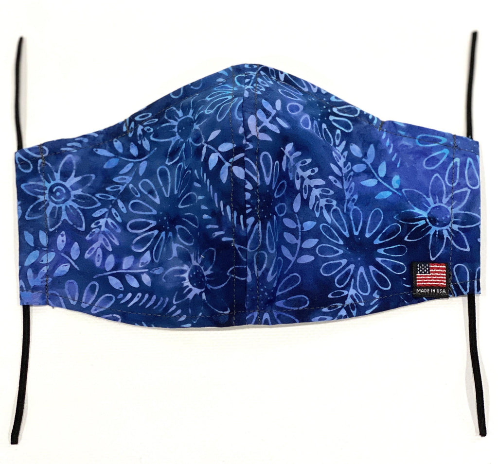 Blue Floral Flower/ Cotton Face Mask/ With pocket for filters - Mod Kham