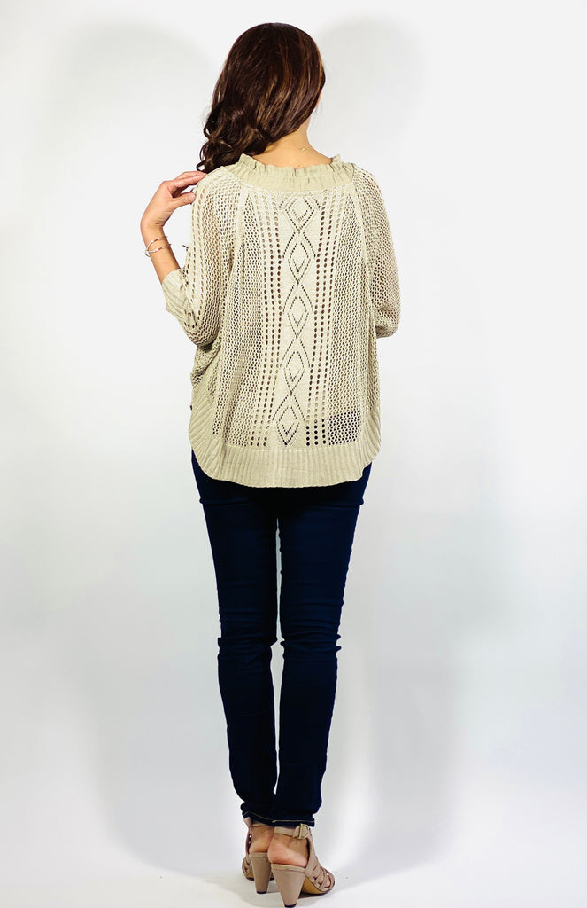 Crochet sweater knit (taupe)