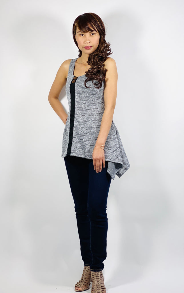 Asymmetrical side split tunic top