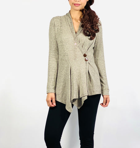 Wrap front sweater top