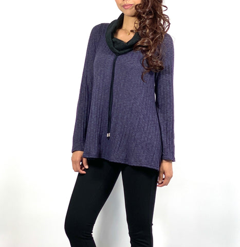 Cowl neck tunic top