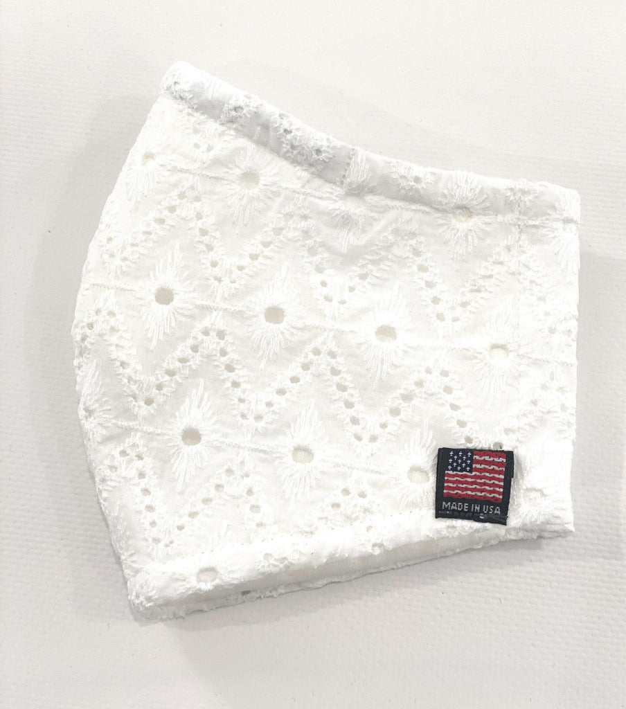 Embroidered Diamond shapes/Cotton Face Mask/Adult Face Mask/Cotton Face Mask/Reusable Face Mask/White Cotton face mask/Pocket for Filters - Mod Kham
