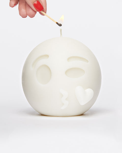 White Kiss Face Emoji Candle by WIK STUDIOS