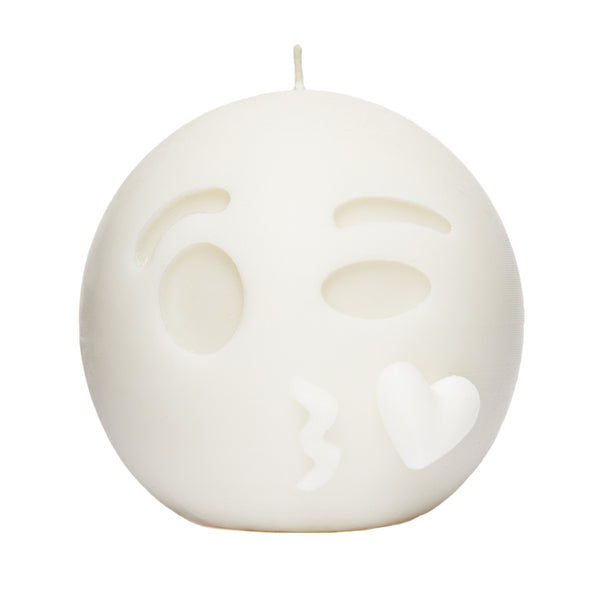 Kiss Face Emoji Candle White by WIK STUDIOS