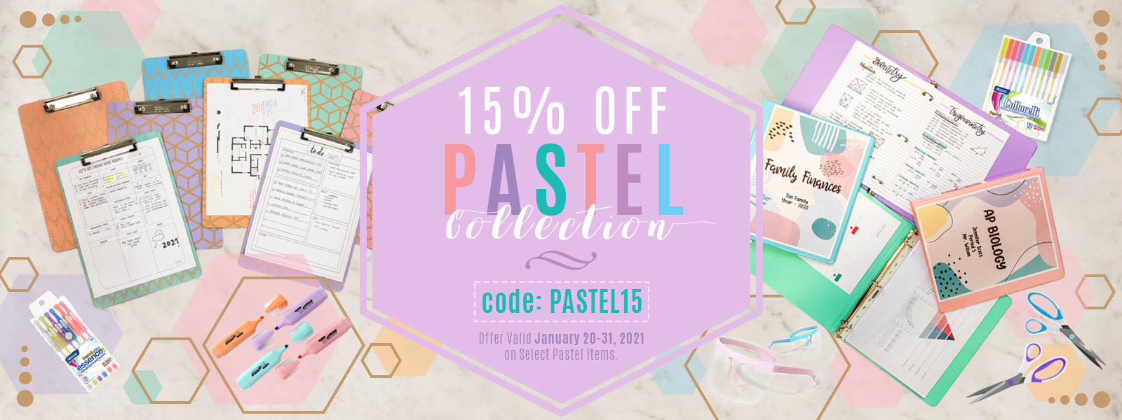Pastel stationary collection 15% off sales