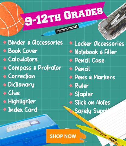 back to school supplies high school stationery binder book cover calculator compass protractor correction glue highlighter index card locker notebook filler paper pencil case pencil pens marker ruler stapler sticky note