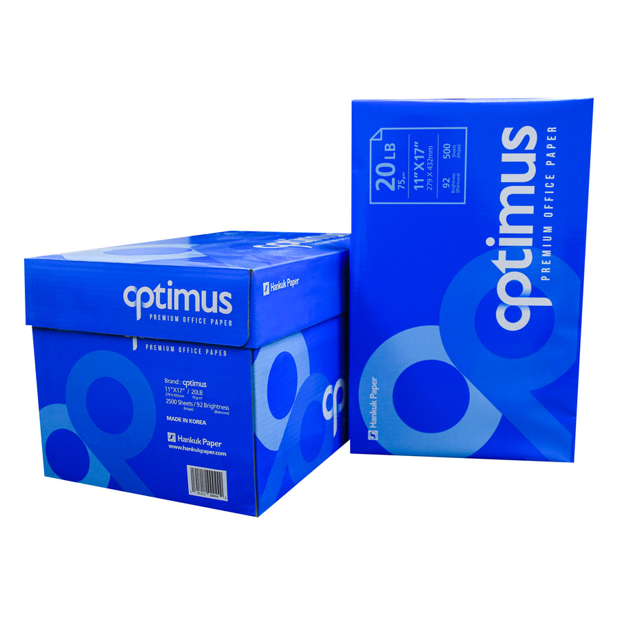 "OPTIMUS (92) 11"" X 17"" Ledger Size Copy Paper (5 Reams/Case) - Bazicstore"