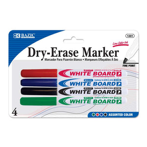 Assorted Color Fine Tip Dry-Erase Marker (4/Pack) - Bazicstore