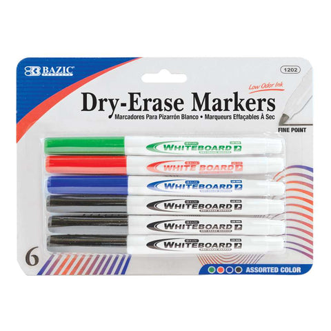 BAZIC Assorted Color Fine Tip Dry-Erase Marker (6/Pack)