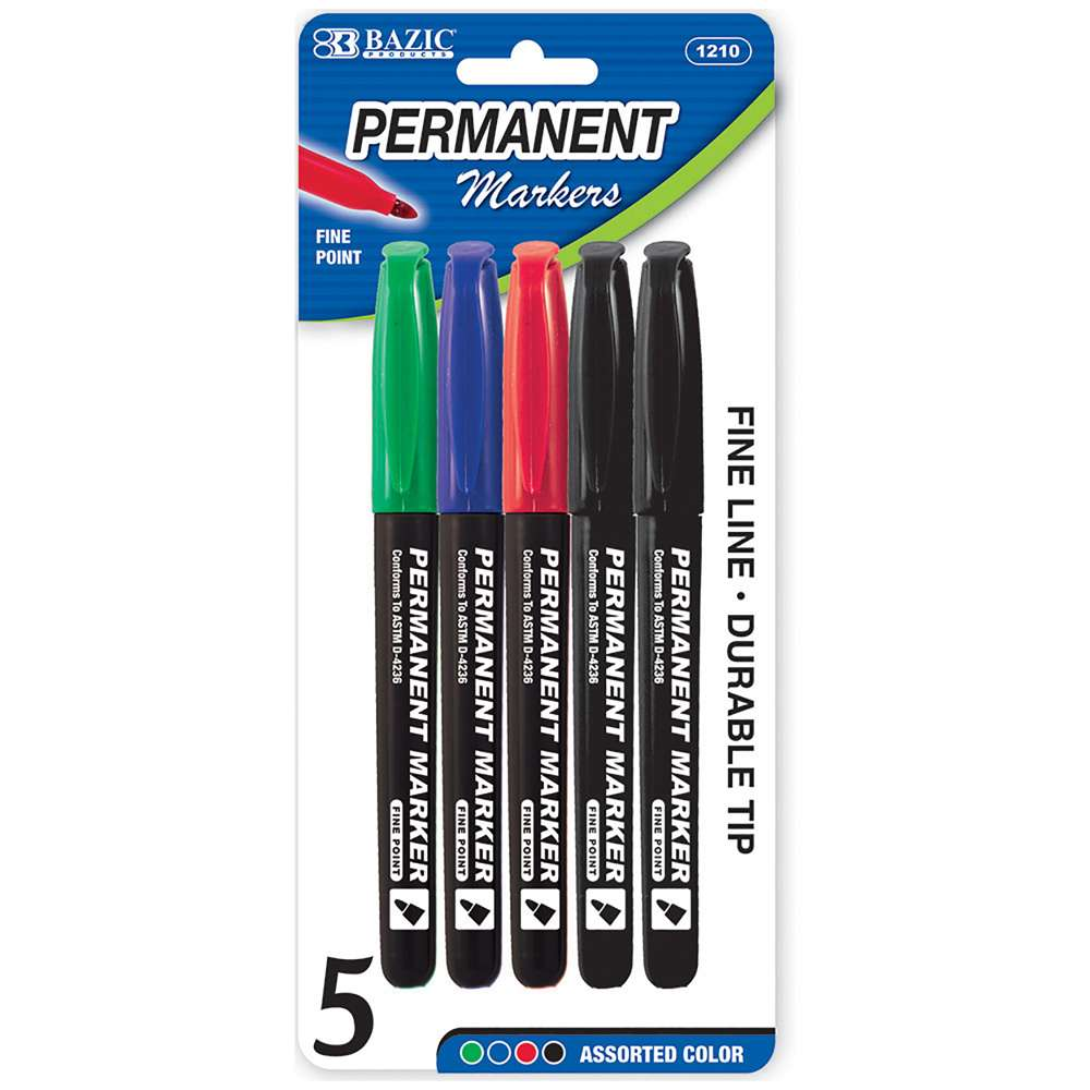 Assorted Color Fine Tip Permanent Markers w/ Pocket Clip (5/Pack)