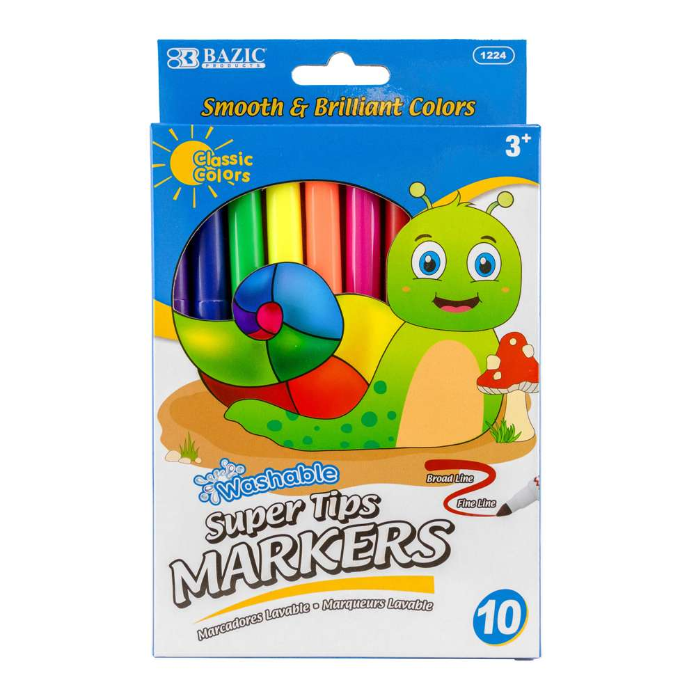 10 Color Super Tip Washable Markers